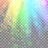 Красочный накаляя свет Лучи радуги Радуга Ослепительное влияние с прозрачностью Графический элемент для документов, шаблоны, Стоковые Фотографии RF