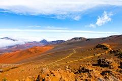 Красочный наклон кратера Haleakala - национального парка Haleakala, Мауи, Гаваи Стоковое фото RF