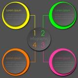 Красочный неоновый дизайн круга Infographic Стоковая Фотография RF