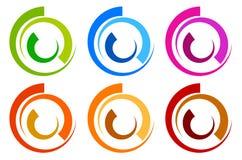 Красочный логотип круга, шаблоны значка концентрическое поделенное на сегменты circl Стоковое Изображение