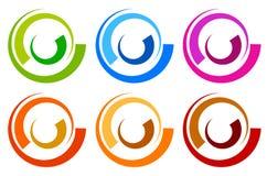 Красочный логотип круга, шаблоны значка концентрическое поделенное на сегменты circl Стоковая Фотография RF