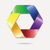 Красочный логотип шестиугольника Стоковое Изображение
