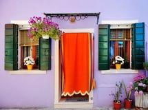Красочный дом в Burano, Венеции, Италии Стоковое фото RF