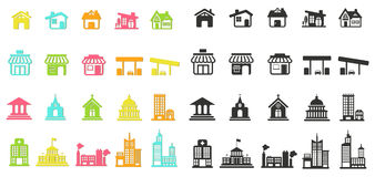 Красочный дом силуэта, церковь, магазин, здание, и другой паб Стоковое Изображение RF