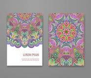 Красочный орнаментальный этнический комплект буклета Стоковое Изображение