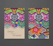 Красочный орнаментальный этнический комплект буклета Стоковое фото RF