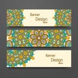 Красочный орнаментальный этнический комплект знамени Стоковые Изображения