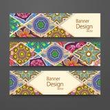 Красочный орнаментальный этнический комплект знамени Стоковое Изображение RF