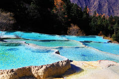 Красочный пейзаж осени национального парка Huanglong Стоковое фото RF