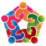 Красочный пентагон людей работы команды Стоковое Фото