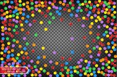 Красочный пестротканый confetti Vector праздничная иллюстрация падая сияющего confetti, изолированная на прозрачном checkered bac Стоковое фото RF