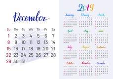 Красочный плановик, 2019, декабрь отдельно иллюстрация штока