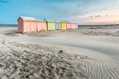 красочный пляж купая кабины Стоковые Изображения