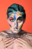 Красочный портрет красоты интенсивного составляет косметики Стоковые Фото