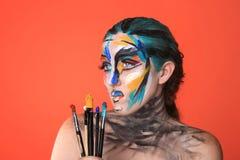 Красочный портрет красоты интенсивного составляет косметики Стоковая Фотография