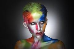 Красочный портрет красоты интенсивного составляет косметики Стоковые Фотографии RF