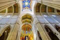 Красочный потолок собора Almudena стоковое фото rf