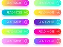 Красочный прочитайте больше изолированных значков на белизне Стоковые Фотографии RF