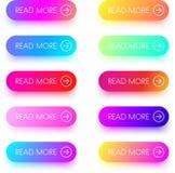 Красочный прочитайте больше изолированных значков на белизне Стоковые Фото