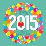 Красочный пук воздушного шара карточка 2015 Новых Годов Стоковое фото RF