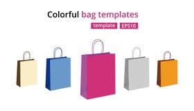 Красочный пустой бумажный комплект вектора хозяйственных сумок Подарок кладет иллюстрацию в мешки на белизне Стоковые Фото