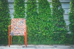 Красочный пластичный сплетя стул ротанга стоя на конкретном поле с зеленой предпосылкой дерева Стоковые Фотографии RF