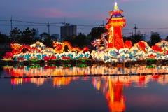 Красочный дракон в nighttime Стоковое Фото