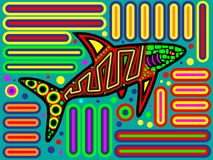 Красочный родной дизайн Mola акулы Панамы иллюстрация штока