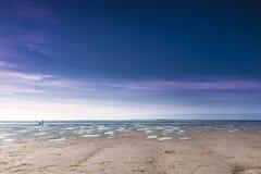 Красочный розовый заход солнца над Северным морем Стоковая Фотография RF