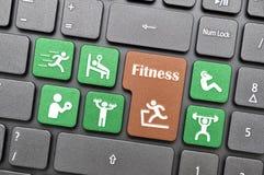 Красочный символ фитнеса на клавиатуре стоковое фото rf