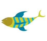 Красочный силуэт с нашивками рыб моря зелеными и голубыми Стоковое Изображение