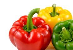 3 красочный сладостный перец, красный цвет, желтый цвет, зеленый цвет, паприка, clippi Стоковое Изображение