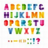 Красочный смешной геометрический алфавит с влиянием перекрытия, иллюстрацией Стоковые Фото