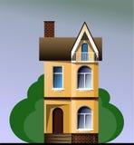 Красочный современный дом коттеджа с деревьями на голубой предпосылке Графические здания иллюстрация вектора