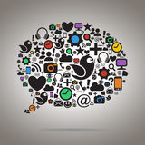Красочный социальный пузырь речи средств массовой информации иллюстрация вектора