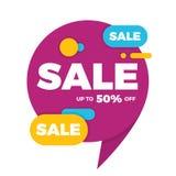 Красочный стикер ценника знамени дизайна продажи пузыря речи Стоковая Фотография RF