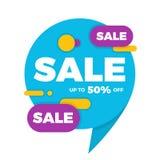 Красочный стикер ценника знамени дизайна продажи пузыря речи Стоковое Фото