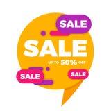 Красочный стикер ценника знамени дизайна продажи пузыря речи Стоковые Фотографии RF