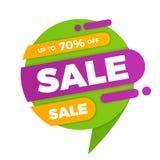 Красочный стикер ценника знамени дизайна продажи пузыря речи Стоковые Фото