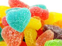 Красочный сладостный конец формы сердца студня вверх на белой предпосылке Стоковое фото RF