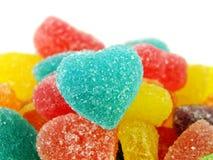 Красочный сладостный конец формы сердца студня вверх на белой предпосылке Стоковое Изображение