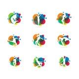 Красочный танец, люди, музыка, диско, дизайн вектора партии Стоковое Изображение RF