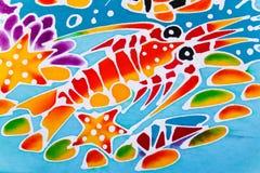 Красочный ткани напечатанной картиной Стоковое Фото