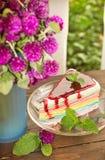 Красочный торт радуги Стоковые Изображения