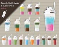 Красочный установленные Milkshake и сочный значок питья - вектор бесплатная иллюстрация