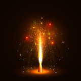 Красочный фонтан вулкана испуская искры - меньший фейерверк Стоковые Фотографии RF