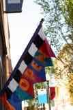 Красочный флаг с словом ОТКРЫТЫМ Стоковая Фотография RF