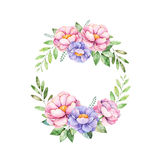 Красочный флористический пастельный венок с пионом, цветками, листьями, листья, иллюстрация штока