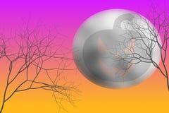 Красочный хеллоуин с тыквой дьявола в луне Стоковая Фотография