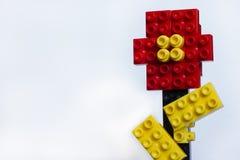 Красочный цветок от пластичных блоков изолированных на белизне Стоковое Изображение